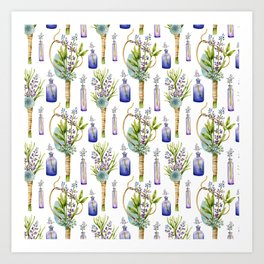 bottles and boutonnieres pattern Art Print