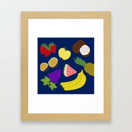 Fruit! in Navy Framed Art Print