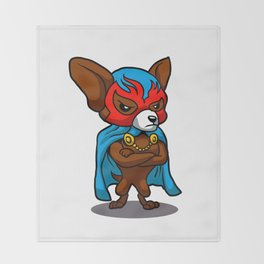 Cute dog chihuahua Fighter Lucha Libre Throw Blanket