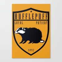 hufflepuff Canvas Prints featuring Hufflepuff Crest by machmigo