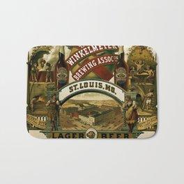 Vintage 1880 Julius Winkelmeyer Brewing Association Lithograph Wall Art Advertisement Bath Mat