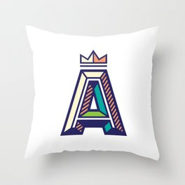 Crowned A Initial Throw Pillow
