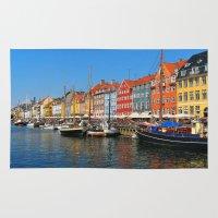 "copenhagen Area & Throw Rugs featuring New Port ""Copenhagen"" by Alan Pary"