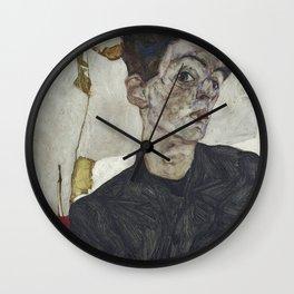 Egon Schiele - Self - Portrait With Chinese Lantern Plant. Wall Clock