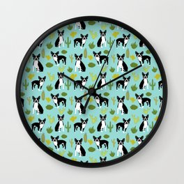 Boston Terrier cactus desert southwest baby mint dog art boston terrier owners pet portraits furbey  Wall Clock