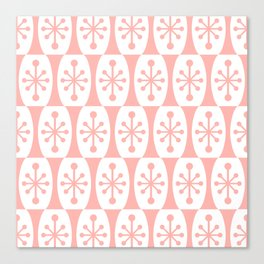 Mid Century Modern Atomic Fusion Pattern Peach Canvas Print