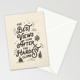 The Best Views Come After The Hardest Climb monochrome typography poster Stationery Cards
