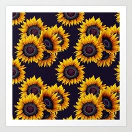 Sunflowers yellow navy blue elegant colorful pattern Art Print