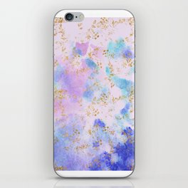 Lavender teal swirls gold iPhone Skin