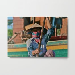 Tonley Sap Lake Lady Metal Print