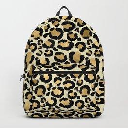Gold Leopard Print Backpack