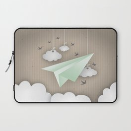 Green Paper Plane Laptop Sleeve
