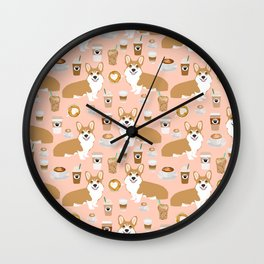 Corgi coffee welsh corgis dog breed pet lovers pink corgi crew pet lovers Wall Clock