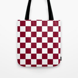 Checkered - White and Burgundy Red Tote Bag