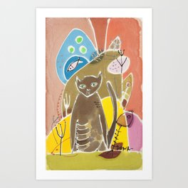 Abstract painting on silk with cat and fish. Original hand painted Art Print