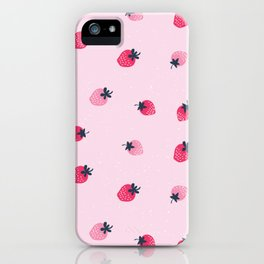 Lovely strawberries watercolor paint on pink background illustration pattern iPhone Case