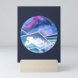 Abstract Watercolor Seascape with Octopus and Sailboat2 Mini Art Print