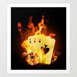 Burning Poker Cards Art Print