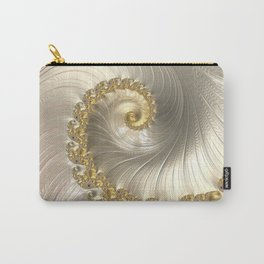 Gold and Pearl Fractal Swirl Carry-All Pouch