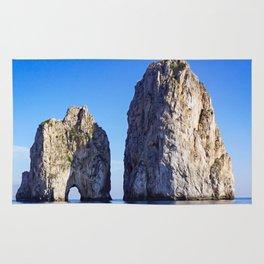 Faraglioni Rocks of the coast of the island of Capri, Italy Rug