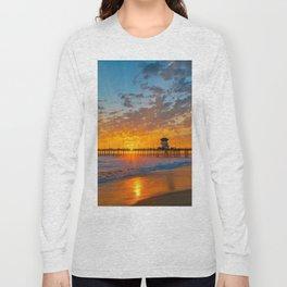 Painted Sky Over Huntington Beach Pier. Long Sleeve T-shirt