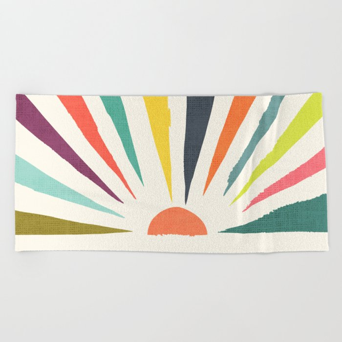 Rainbow ray Beach Towel