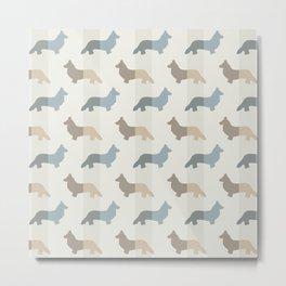 Welsh Corgi Pattern - Natural Colors Metal Print