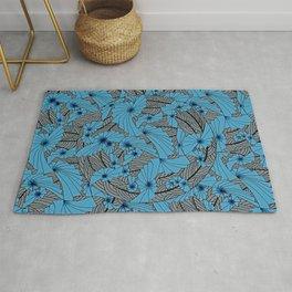 Mandala Blue Grey Abstract Rug