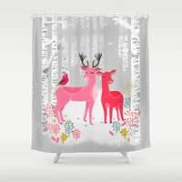 Woodland Christmas Deer by Andrea Lauren  Shower Curtain