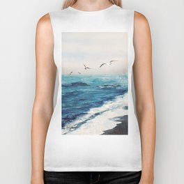 Watercolor Coast Biker Tank