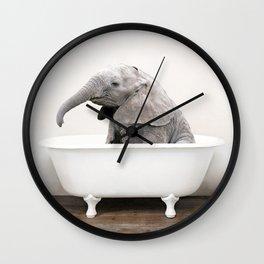 Baby Elephant in a Vintage Bathtub (c) Wall Clock