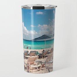 Blue Umbrellas under Blue Skies Travel Mug