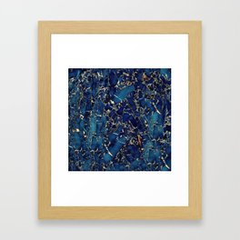 Dark blue stone marble abstract texture with gold streaks Framed Art Print