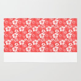 Red Hibiscus Honu Hawaiian Pattern Rug