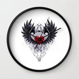 Dark angel heart Wall Clock