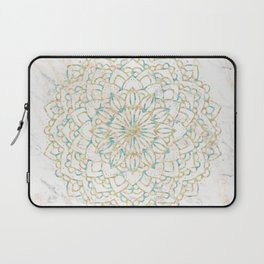 Marble Mandala Sea Shimmer Gold + Turquoise Laptop Sleeve