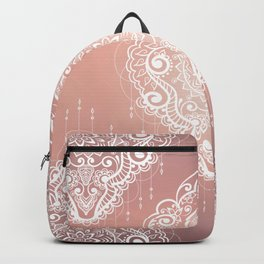 Rose Gold Bohemian Mandala Fall Sunrise Backpack