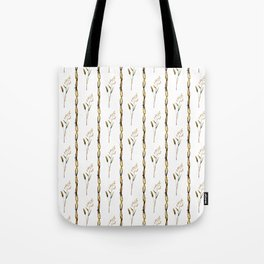 Abstract navy blue gold brown floral stripes Tote Bag
