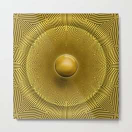 Golden Sunrise Pattern Metal Print