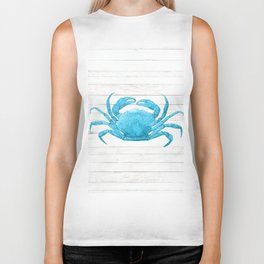 Nautical Blue Crab Driftwood Dock Biker Tank