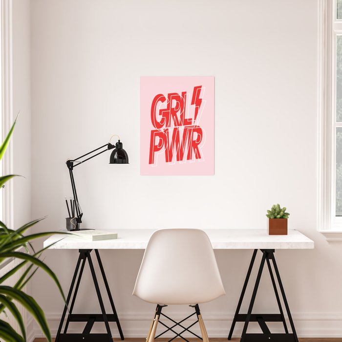 GRL PWR - GIRL POWER (Feminism typography design in red) Poster