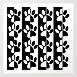 Black And White Dog Paws And Stripes Art Print