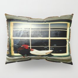 Rooster & Hen on a window Ledge Pillow Sham