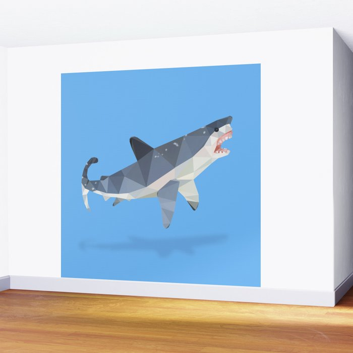 Low Poly Great White Shark Wall Mural by dianadachille Society6