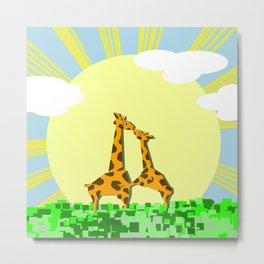 Cute Giraffes Metal Print