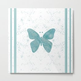Decorative White Overlay Turquoise Marble Buttefly Metal Print