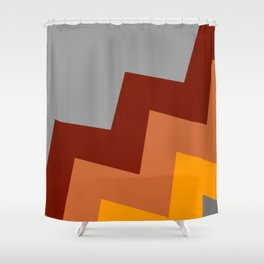 Off Axis - Chevron - Red, Orange, Gray Shower Curtain