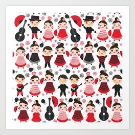 Seamless pattern spanish flamenco dancer. Kawaii cute face with pink cheeks and winking eyes. Art Print