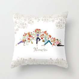 Yoga Girls_Namaste_Poses and Flowers Large scale Throw Pillow