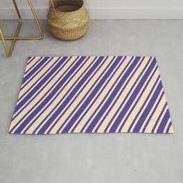 Bisque and Dark Slate Blue Colored Stripes/Lines Pattern Rug